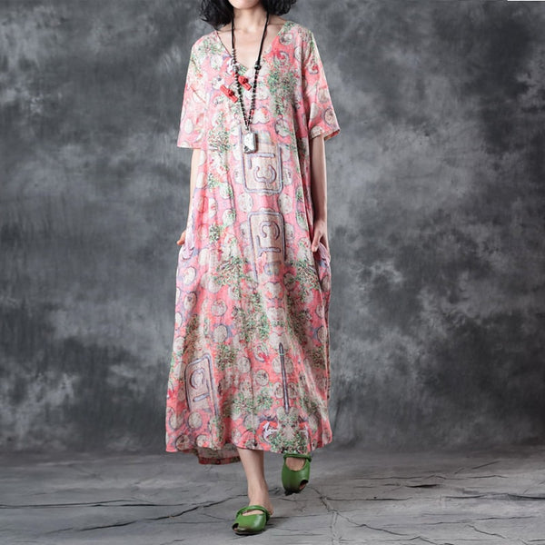 Casual Loose Vintage Linen V Neck Summer Skirt Dress