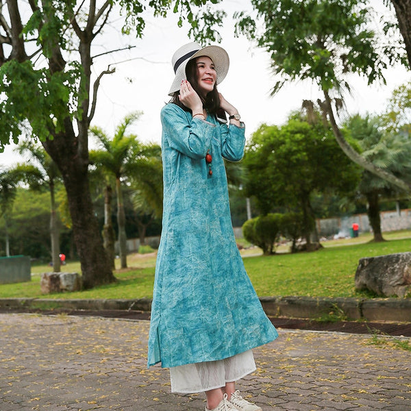 Women Casual Loose Vintage Printed V Neck Linen Dress