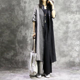 Casual Loose Vintage Flax Long Shirt and Splice Loose Pant Black Side Slit