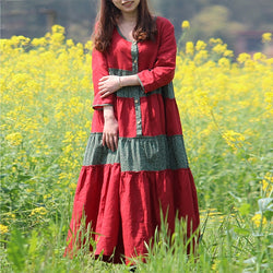 Women Cotton Linen Loose Bohemia Floral Skirt Pleats Maxi Dress Red