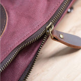 Unisex Fashion Vintage Canvas Spliced Genuine Leather Shoulder Bag Handbags