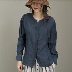 Spring Casual Ramie Shirt Long Sleeve Button Blouse Stand Collar Dark Blue