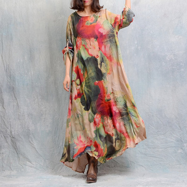 Woman Casual Loose Silk Linen Allover Print Two Piece Dress Sundress