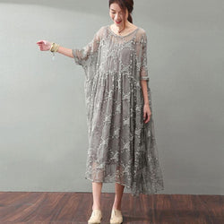 Lacing Women Silk Loose Casual Embroidery Dress