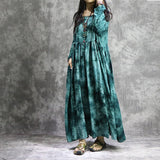 Casual Cotton Linen Plus Size Loose Tie Dyed Printed Lace-up Dress