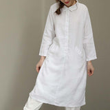 Woman Casual Linen Turn Down Collar Loose Plus Size Shirt Dress