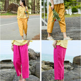 Woman Casual Elastic Waist Loose Linen Pants Yellow Eighth Pants Red