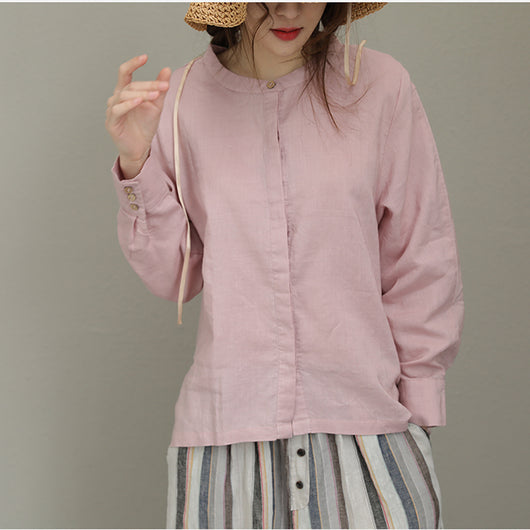 Spring Casual Ramie Shirt Long Sleeve Button Blouse Stand Collar Pink