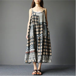 Women Loose Dot Floral Print Cotton Linen Sleeveless Braces Skirt Summer Dress