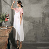 Woman Casual Loose Sleeveless Linen Slip Dress Pleat Waist