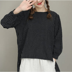 Women Casual Ramie Vertical Stripe Shirt Long Sleeve Blouse Pleats Back- Black