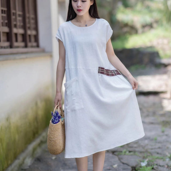 Women Vintage Linen Short Sleeve Splice Dress White