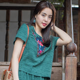 Women's Cotton Linen Blouse Short Embroidered T-shirt