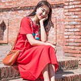 Casual Embroidery Cotton and Linen Short Sleeve Dress