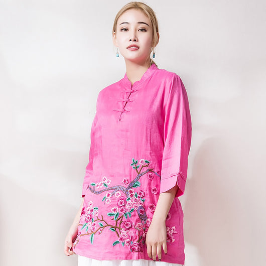 Woman Vintage Cotton Linen Plus Size Flower Embroidery Blouse