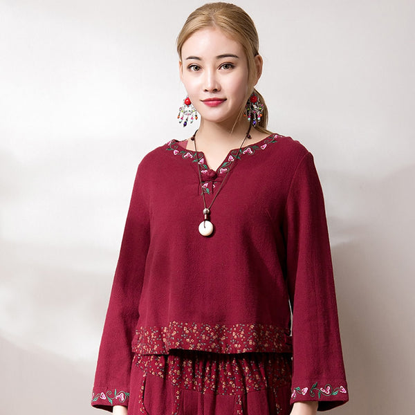 Cotton Linen Cloth Button Embroidery Short Blouse