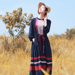 Woman Spring Cotton Linen Splice Long Sleeve Dress