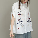 Woman Casual Loose Linen Embroidered Plus Size Short Sleeve Small Turndown Collar White Shirt
