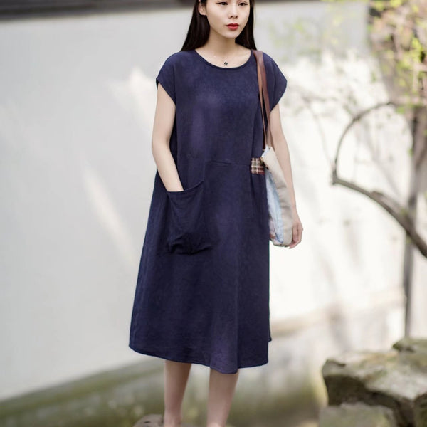 Women Vintage Linen Short Sleeve Splice Dress Dark Blue