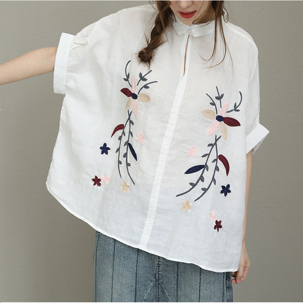 Woman Cotton Linen Embroidered Plus Size Short Sleeve Turndown Collar Shirt