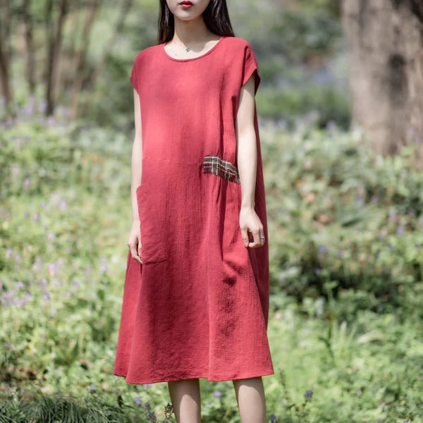 Women Vintage Linen Short Sleeve Splice Dress Red