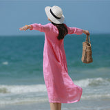 Women Casual Loose Round neck Pleated Ramie Dress Pink