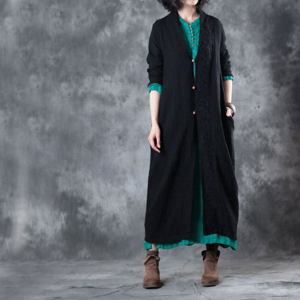 Woman Casual Loose Embroidery Button Coat