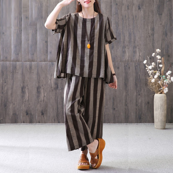 Women Cotton Linen Two Pieces Suit Vertical Stripe Blouse Cropped Pants Grey