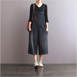 Spring Loose Pant Cotton Vertical Stripes Pocket Cropped Trousers Jumpsuit