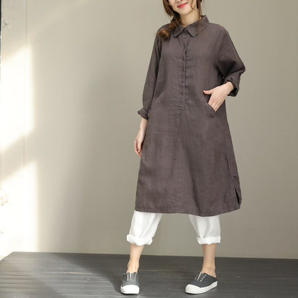 Woman Loose Casual Cotton Linen Turn Down Collar Shirt Dress