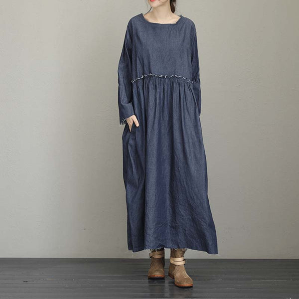 Woman Loose Cotton Raw Edges Denim Blue Dress Pleat Waist