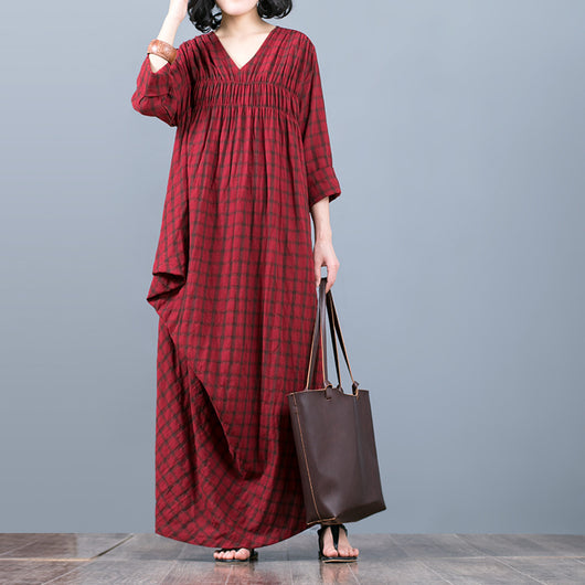 Women Spring Casual V Neck Irregular Cotton Grid Dress Elastic Bust Pleats