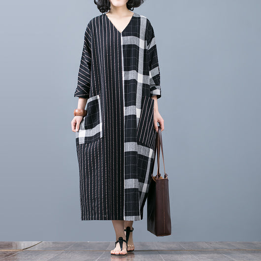 Women Casual Splicing Cotton Linen Bat Sleeve Plus Size Loose Plaid Spring Dress