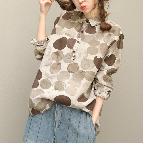 Woman Casual loose Linen Dot shirt