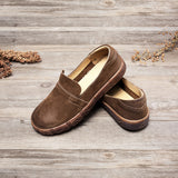Women Vintage Spring Leather Slip-On Shoes
