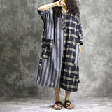 Women Splice Casual Loose Cotton Linen Stripe Grid Lace up Dress Plus size