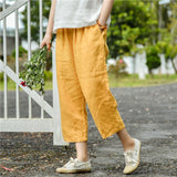 Woman Casual Elastic Waist Loose Linen Pants Yellow Eighth Pants