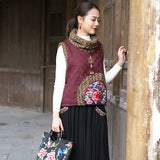 Spring Cotton and linen Embroidered Double Layer Vest