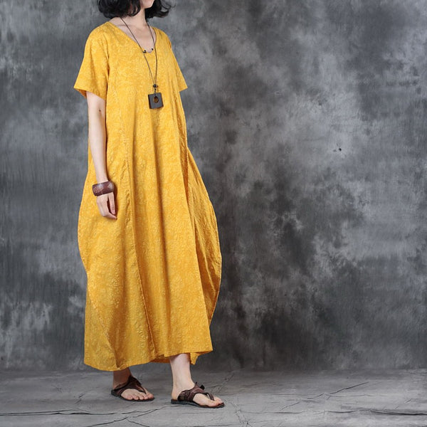 Women Casual Loose Silk Linen V Neck Maxi Dress Pockets Button Yellow
