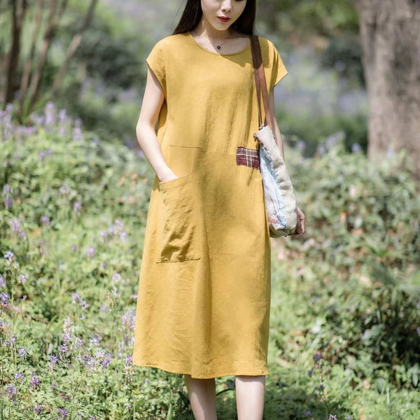 Women Vintage Linen Short Sleeve Splice Dress Yellow