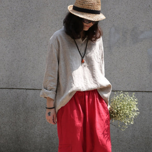Spring Casual Loose Linen Long Sleeve Pleat Shirt Irregular Blouse