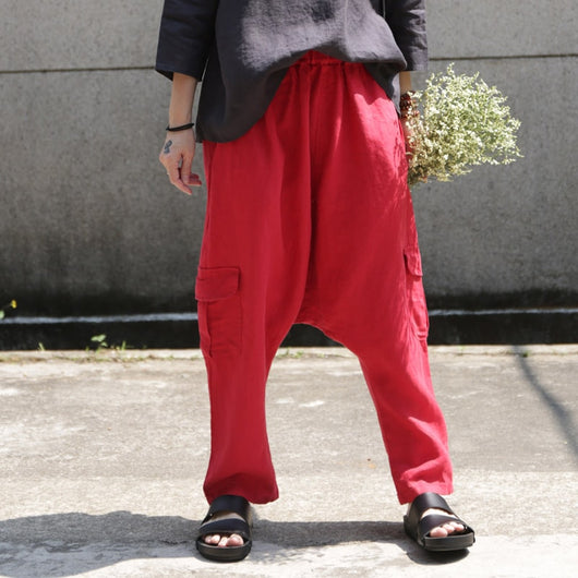 Women Casual Linen Elastic Waist Retro Baggy Pants Pocket Harem Pants