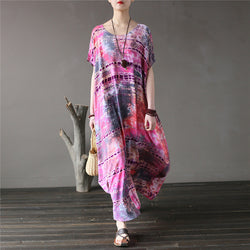 Spring Cotton Tie-dyed Print Plus Size Dress Round Neck Short Sleeve