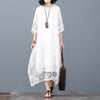 Loose Casual Vintage Cotton Linen Dress Invisable Pockets Round Neck
