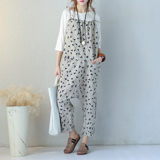 Woman Loose Casual Cotton Linen Shoulder Straps Pigeon Print Harem Jumpsuit