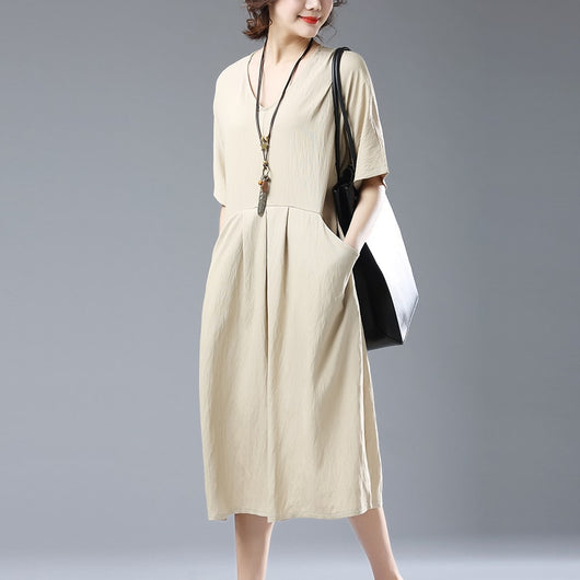 Casual Loose Plus Size Short Sleeve V Neck Cotton Linen Dress Khaki