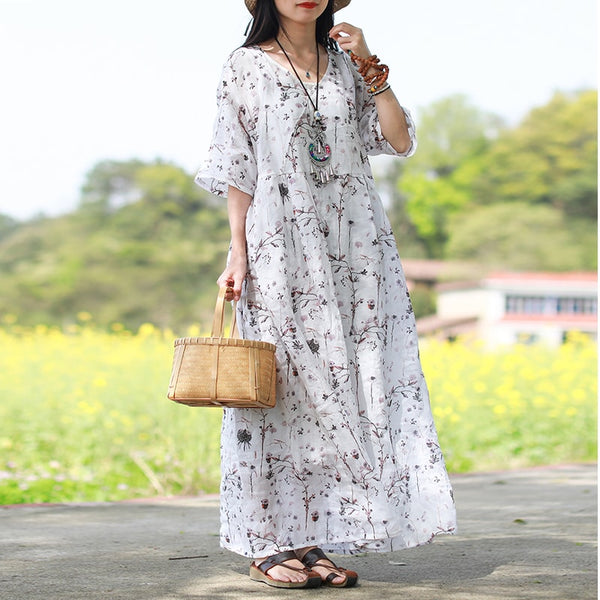 Women Casual Loose A Line High Waisted Ramie Raglan Sleeve V Neck Summer Dress