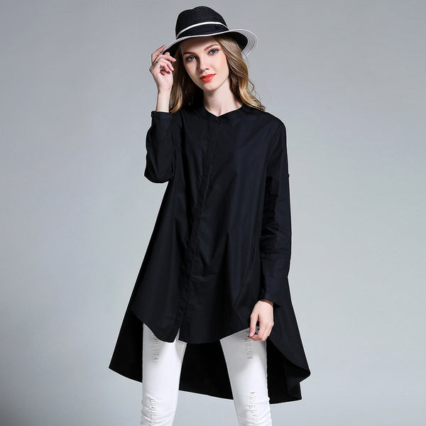 Woman Casual Loose Cotton Button Placket Blouse Irregular Bottom Shirt
