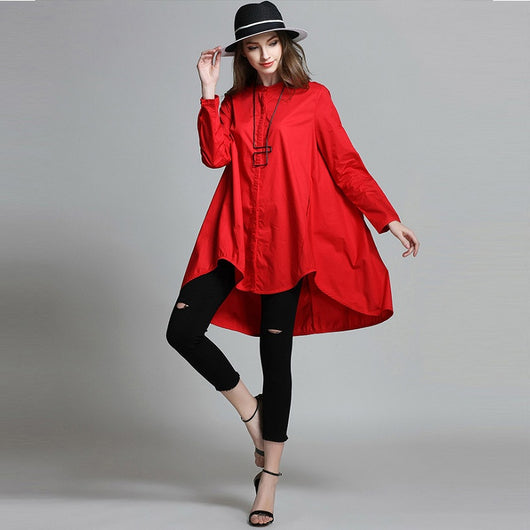 Irregular Bottom Shirt Red