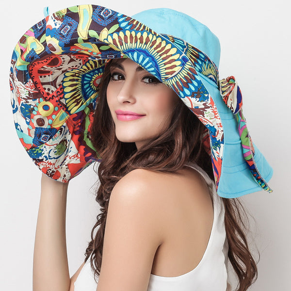 Floral Print Foldable Wide-Brim Sun Hat Cotton Two Sides Beach Hat